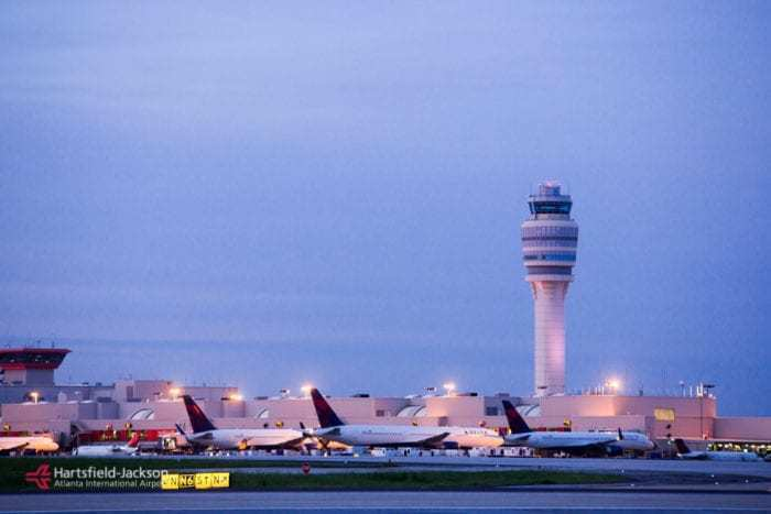 View of the tower at twilight on the airfield