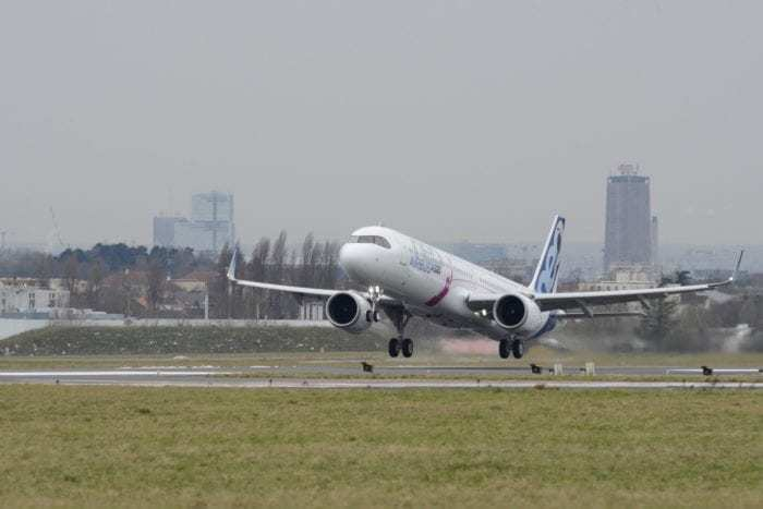 Airbus A321 takeoff on runway