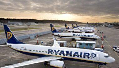 Fleet of Ryanair aircraft at the airport