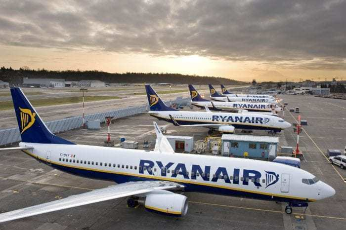 Fleet of Ryanair aircraft at the airport