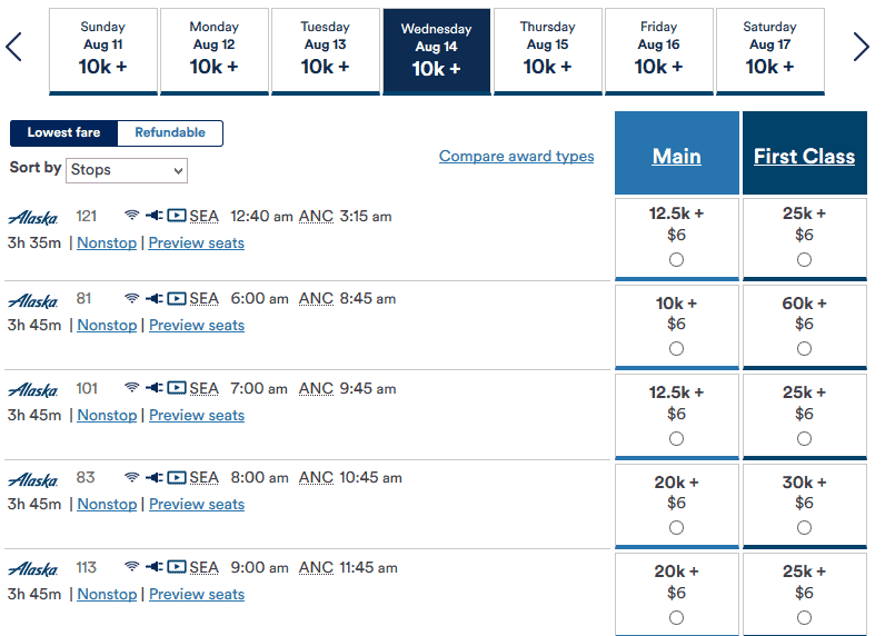 Alaska Airlines mileage search