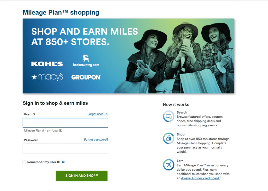 Alaska Mileage Shopping Portal