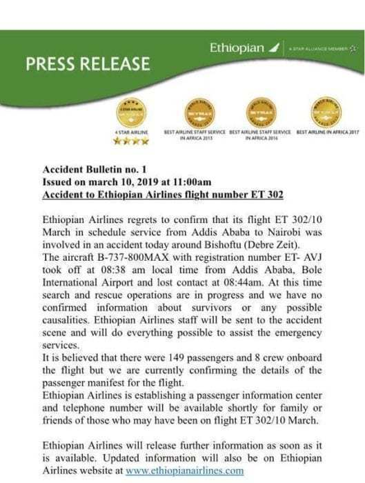 Ethiopian Airlines 737 Crashes Enroute To Kenya