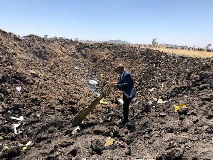 Ethiopian Airlines crash debris