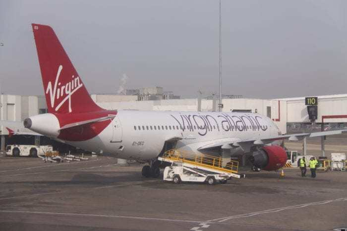 Virgin Atlantic Airbus parked at gate