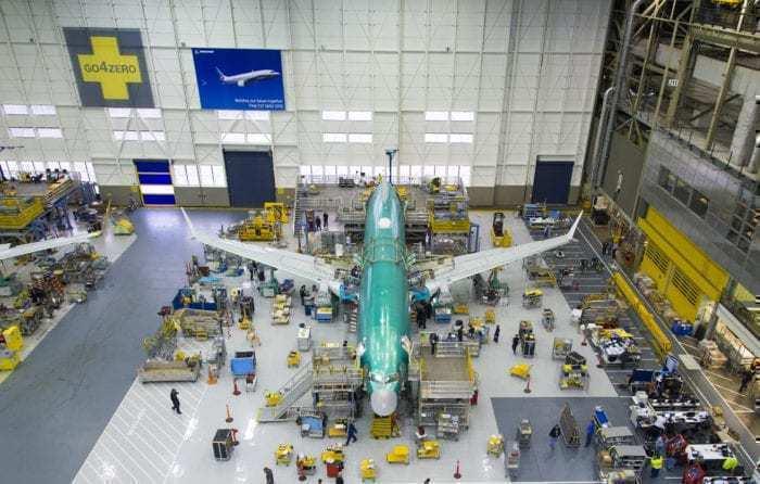 Assembling a Boeing 737 MAX aircraft
