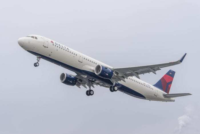 Delta aircraft in flight