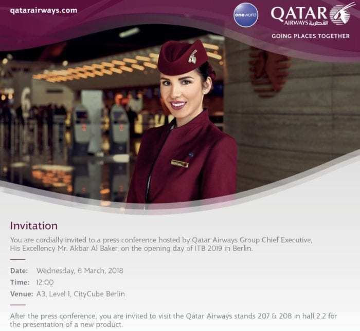 Qatar Airways Press Conference Invitation