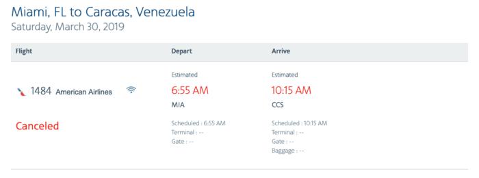 American Airlines Caracas Venezulea
