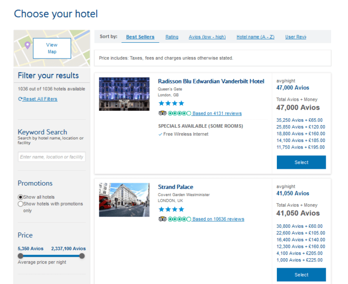 Examples of hotels in London with Avios