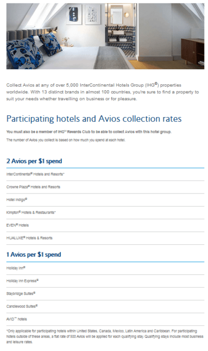 Example of Avios earning with IHG Hotels