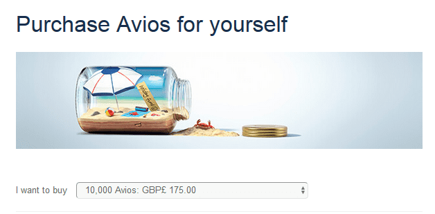 Purchase Avios through BA