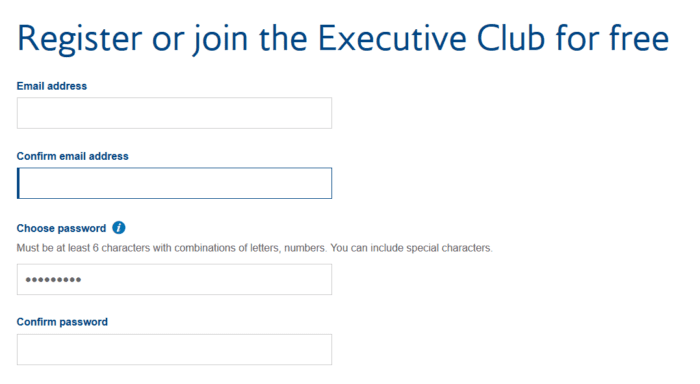 Sign up for Executive Club