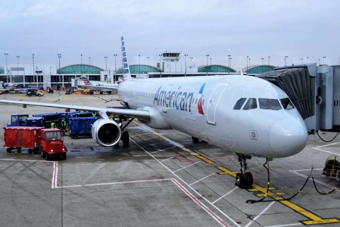 AA aircraft parked at gate