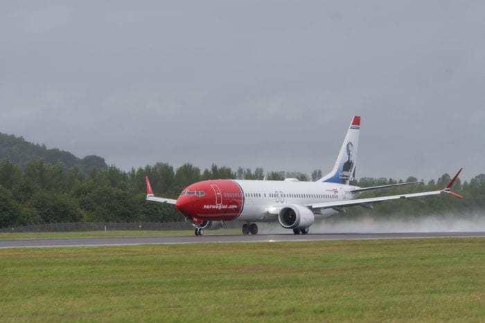 Norwegian Boeing 737 Max 8 takes off from Edinburgh Airport.