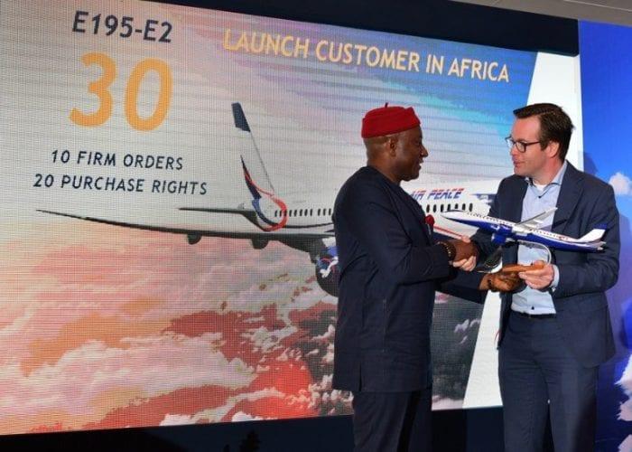 Nigeria's Air Peace Expands Firm Order For Embraer E195-E2 Jet
