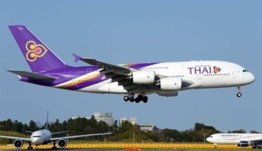 Thai Airways Airbus A380 in flight