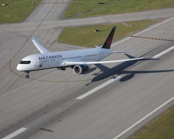 Air Canada aircraft during takeoff