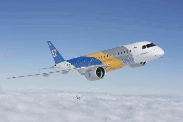 An Embraer E190-E2 in flight.