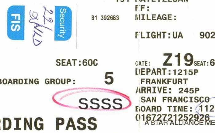 A boarding pass with SSSS