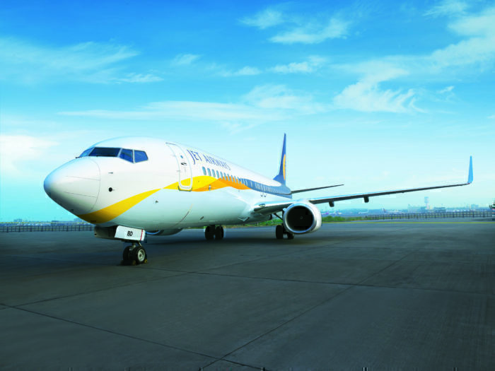 A Jet Airways Boeing 737 on the tarmac