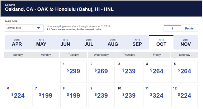 Southwest October Hawaii prices