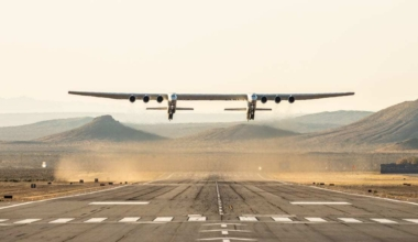 Stratolaunch aircraft during landing