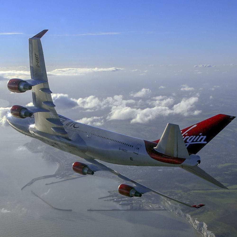 Virgin 747 in flight