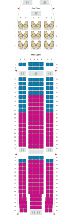 Hawaiian Airlines A330 seat map