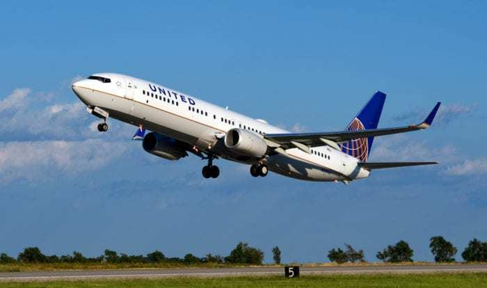 United Airlines aircraft during takeoff