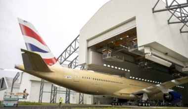 British Airways A350-1000 in hangar