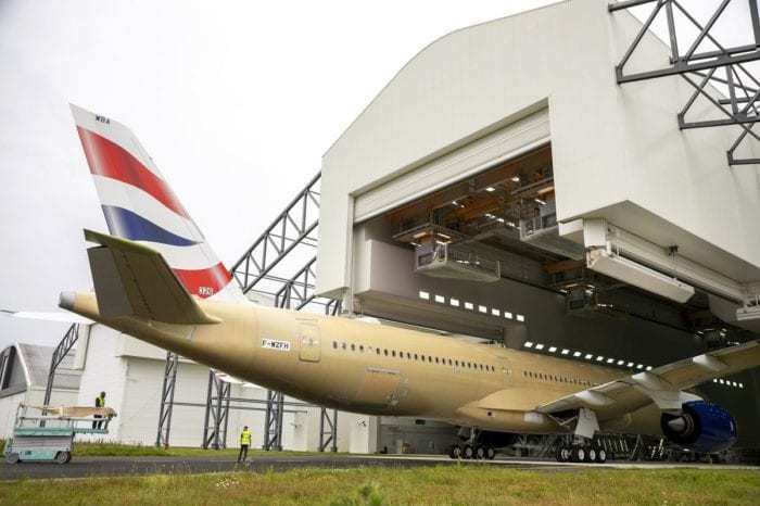 British Airways A350-1000 in hangar