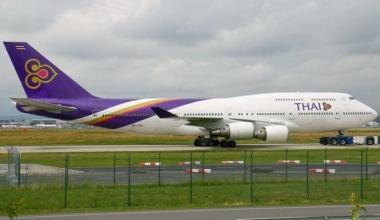 A Thai Airways International Boeing 747-4D7 at Frankfurt.