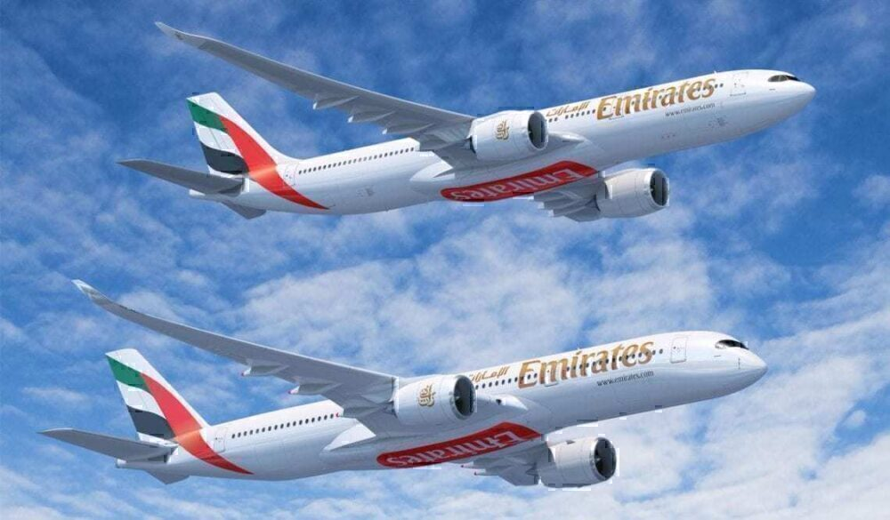 Emirates A350 and A330