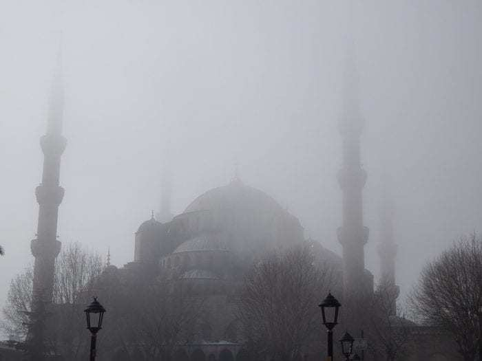 Fog over an Istanbul mosque in 2018