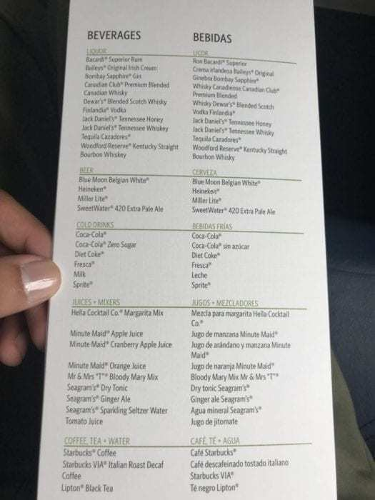 First class beverage list