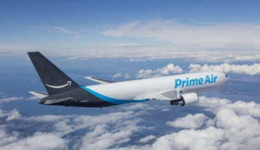 An Amazon Prime Air aircraft in flight