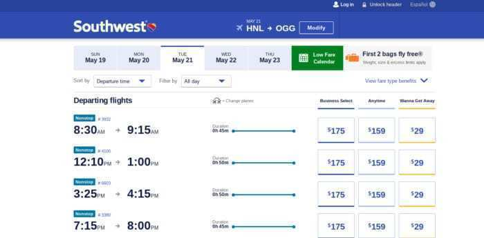 Southwest Airlines local Hawaii service performing well