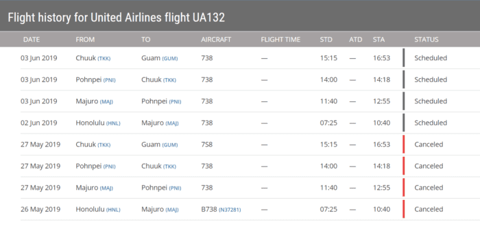 UA132 scheduled flights