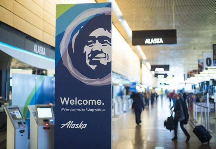Alaska Airlines airport welcome sign