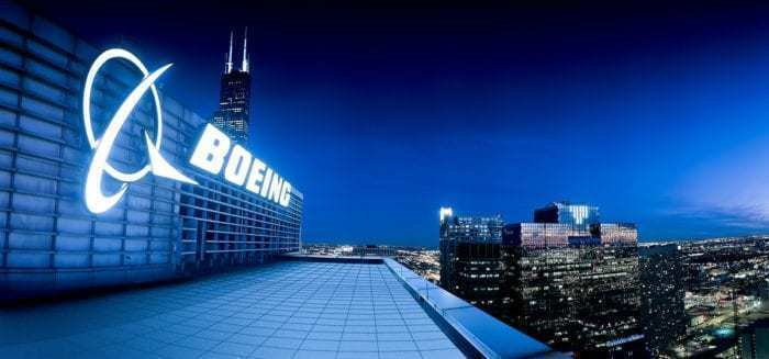 Boeing HQ at night