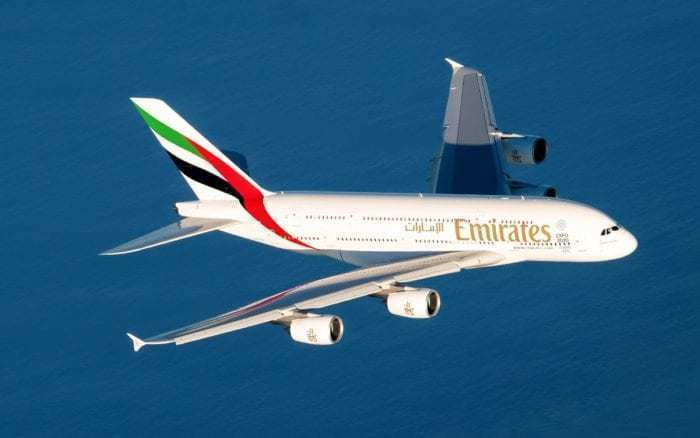 Emirates A380 mid-air