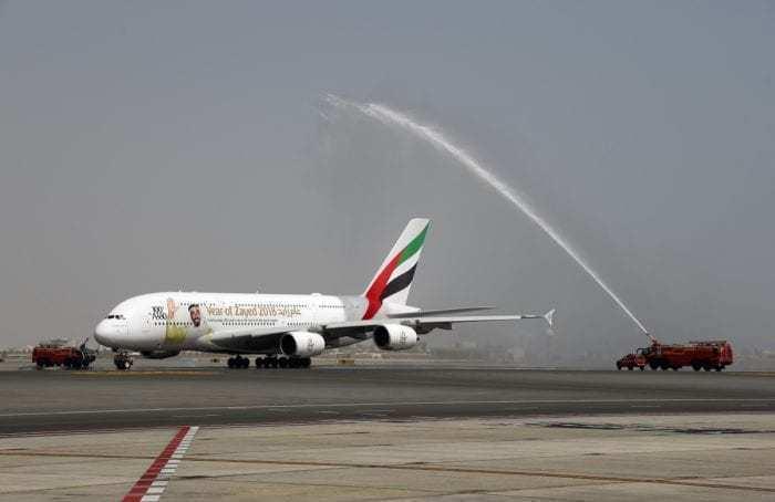 Emirates A380 on taxiway at Muscat Airport