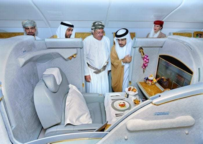 Interior of Emirates A380 first class