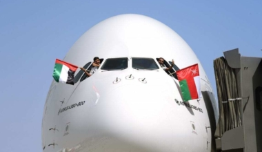 Front-on of Emirates A380