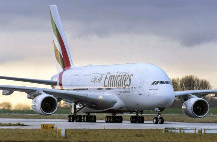 Emirates A380 on runway
