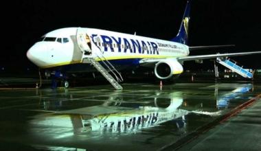 Ryanair aircraft on apron.