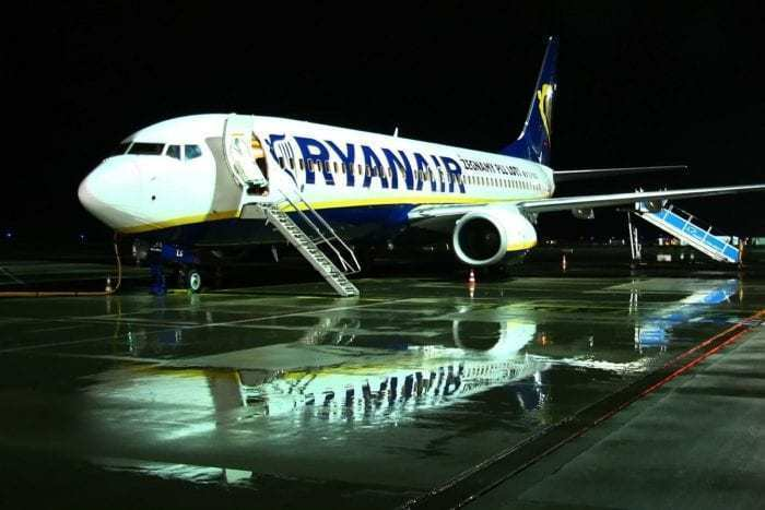 Ryanair aircraft on apron.