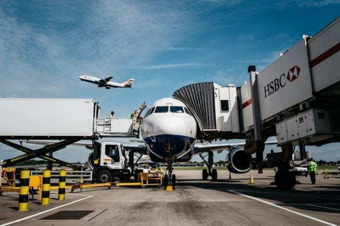 British Airways plane at jetway