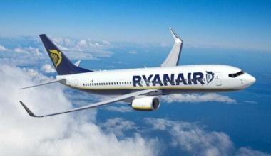 Ryanair airliner in flight